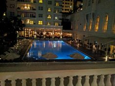 Night View of the pool - Cipriani Restaurant at the back and Bar do Copa on the right