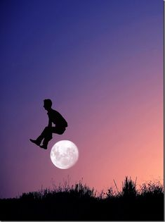 Cleverly Silhouette posed photos show man jumping over the moon by Adrian Limani