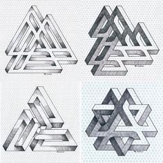 Illusion Drawings, Illusion Art, Geometric Designs, Geometric Shapes, Mc Escher Tessellations, Escher Art, Isometric Drawing, Architecture Tattoo, Pointillism