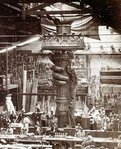 The Statue of Liberty - A gift to America from the French. Assembly of the statue took place in France, as pictured here, showing the torch under construction. ~ The Statue of Liberty was placed on Bedloe's Island in New York Harbor. Designed from 1876-1886, by French sculptor: Frédéric Bartholdi. ~ The sculptured head of Lady Liberty, was exhibited at the c.1878 Paris World's Fair. ~ {cwlyons} ~ (Image: io9)
