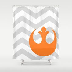 Star Wars Coral Rebel Alliance and Chevrons Shower Curtain