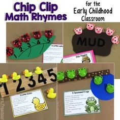 10 Fun Chip Clips Poems for Developing Math Concepts with Preschoolers Preschool Poems, Rhyming Activities, Numbers Preschool, Preschool Music, Preschool Literacy, Music Activities, Toddler Activities, Toddler Learning, Kindergarten Math
