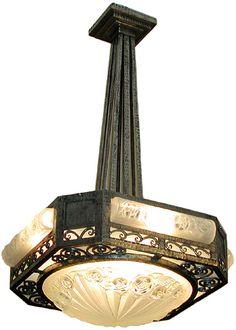 Degue rose chandelier. 1930. Wrought iron.