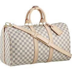 "Louis Vuitton Damier Azur Canvas Keepall 45 N48223,Size:17.7"" x 11.4"" x 8.6"""