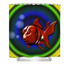 Funky red goldfish shower curtain.  Design by Susan.