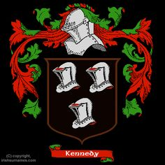 Kennedy family crest - The Kennedy coat of arms came into existence centuries ago. The process of creating coats of arms (also often called family crests) began in the eight and ninth centuries. The new art of Heraldry made it possible for families and even individual family members to have their very own coat of arms.
