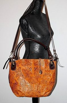 e629d826cd Marino Orlandi Signature Butterfly Embossed Leather Large Tote Hand Bag  Italy Large Tote, Emboss,