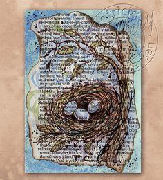 Bird Nest - ACEO - Dictionary Art