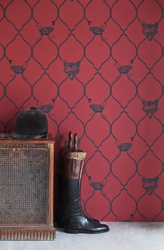 Fox & Hen Wallpaper in Brick | www.wallpaperantics.com.au