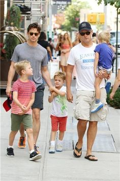 Matt Bomer and Simon Halls step out with their three sons in Soho, New York City on Thursday