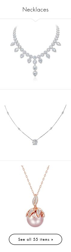 """""""Necklaces"""" by mel-grey-lannister ❤ liked on Polyvore featuring jewelry, necklaces, accessories, colares, jewels, white gold jewellery, white gold necklace, diamond jewellery, white gold jewelry and diamond drop necklace"""