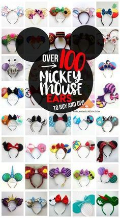 over 100 totally unique and cute Mickey Mouse ears idea to diy and buy! Perfect for your trip to Disneyland or Disneyland! : over 100 totally unique and cute Mickey Mouse ears idea to diy and buy! Perfect for your trip to Disneyland or Disneyland! Diy Disney Ears, Disney Mickey Ears, Mickey Mouse Ears Headband, Minnie Mouse Ears Disneyland, Micky Ears, Disney Bows, Disney Hair, Disney Disney, Disney Family