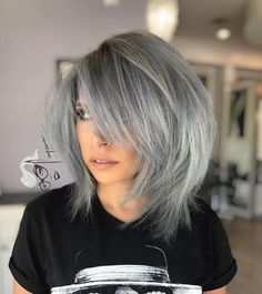 Gray Layered Bob With Bangs The Effective Pictures We Offer You About short bob hairstyles for thick Bob Haircut With Bangs, Lob Haircut, Haircut For Thick Hair, Layered Bob With Bangs, Short Hair With Layers, Layered Bobs, Angled Bobs, Stacked Bobs, Inverted Bob