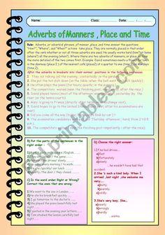 Word Order, English Tips, Adverbs, Grammar Worksheets, Parts Of Speech, English Grammar, Manners, Esl, Heavy Metal