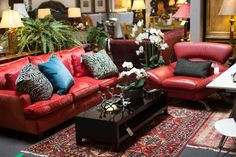 Red leather couches for the modern home. Found at Avery Lane Fine Consignment in Scottsdale, Arizona. Couch Furniture, Living Room Furniture, Red Leather Couches, Living Room Red, Consignment Furniture, Scottsdale Arizona, Home Accessories, Love Seat, New Homes