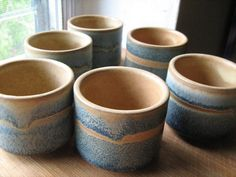 Handmade Painted Clay Sake or Tea Service for 6 - Denim and Tan Stonewash