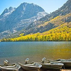 June Lake, CA - True weekend escape: It'd be worth a trip to this corner of the Eastern Sierra for the flaming trees alone. But June Lake also has lakes, waterfalls, jagged peaks, and a little something for everyone. Rent a pedal boat at Gull Lake Marina to take in the views with resident ducks. For aspens, hike the 4-mile round-trip Parker Lake Trail.