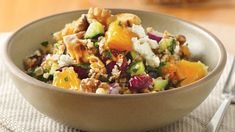 Add a tasty side dish to your family's Mediterranean dinner! Serve this colourful salad featuring bulgur, cucumber, nuts and cranberries.