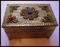 Vintage Jeweled Casket/Box  Footed  Hammered Brass
