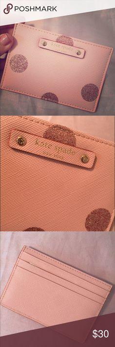 NWT Kate Spade Pink Polka Dot Card Holder Brand new, never used glitter polka dot pink card holder kate spade Accessories Key & Card Holders