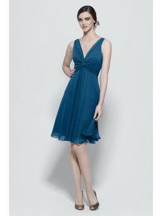 Chiffon V-neck Pleated Bodice Knee-Length A-line Bridesmaid Dress