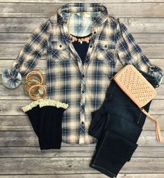 Penny Plaid Flannel Top: Peach