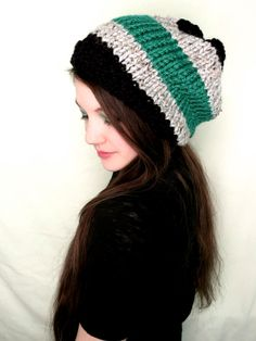 Emerald Green Grey and Black Beanie by LexaLex on Etsy, $18.00< i am so getting this!