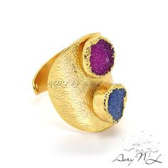 Gold Plated Ring with Druzy Agate beautiful pattern rich by AoryNL