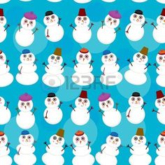 Seamless pattern cute cartoon snowmen on blue background Vector