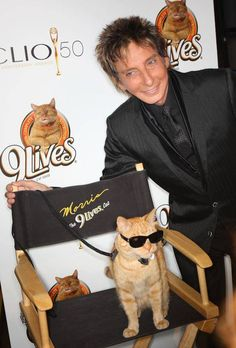 Barry Manilow and Morris the 9 Lives cat.