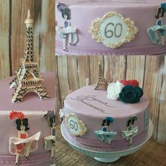 Fondant cake Paris toureiffel cancan dancers moulin rouge france