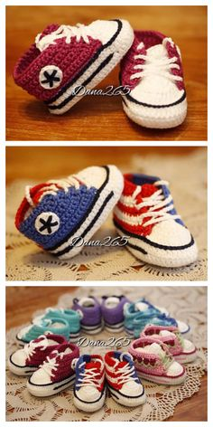 Converse Baby Sneakers Free Crochet Patterns + Video - DIY Magazine Knit Baby Shoes, Crochet Baby Boots, Booties Crochet, Crochet Shoes, Hat Crochet, Baby Converse Shoes, Baby Sneakers, Converse Sneakers, Baby Booties Free Pattern