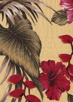 50anea Tropical Hawaiian non-upholstery barkcloth, heliconia & hibiscus flowers.Add Discount code: (Pin10) in comment box at check out for 10% off sub total at BarkclothHawaii.com