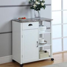 Inroom Designs Kitchen Cart With Marble Laminate Top White Farmhouse Kitchens Home