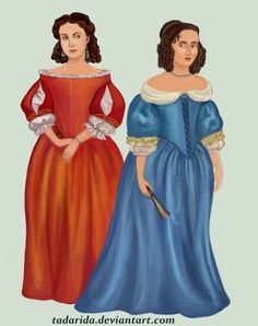 1650 The wide, high-waisted look of previous period dissapears in favour of long, vertical line. Dresses have full, loose sleeves, low, broad necklines with dropped shoulders and pointed bodices. Hair is worn in curls, in a hurluberlu style. by Tadarida.deviantart.com on @DeviantArt