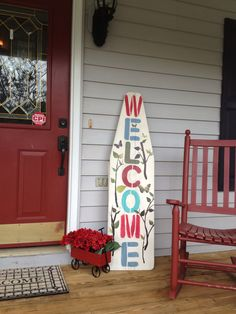 Amazing Ideas For Repurposing That Old Ironing Board - DIY Craft Projects Painted Ironing Board, Antique Ironing Boards, Wood Ironing Boards, Painted Porch Floors, Porch Paint, Porch Flooring, Front Porch Restaurant, Wooden Welcome Signs, Wood Signs