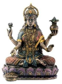 Bronze Hindu Goddess Lakshmi On Lotus Hinduism Display Statue Figurine