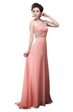 Cute coral one shoulder long prom dresses 2014 for juniors and homecoming