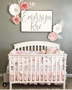 Nursery sign - personalized name sign - baby boy - baby girl - baby shower - wooden sign #baby #babygirl #newborn #babygirlname #babynames #girlnames #sign #nursery #pinkandgray #gray #crib #nurserydecor #flowers #affiliate