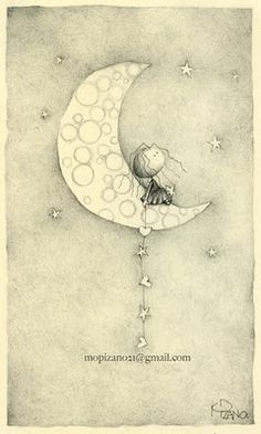 """New Moon"" Maricarmen Pizano Rights Reserved. Sun And Stars, Good Night Moon, Moon Art, Moon Child, Children's Book Illustration, Whimsical Art, Art Drawings, Sun Moon, Artsy"