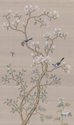 "Chinoiserie handpainted artwork a pair of 31"" x 51"", custom size available"
