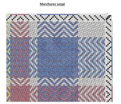 marchures sergé 1-2 , 2-3 , 3-4 , 4-1 , 3-4 , 2-3 tissage sergé :1-2 , 2-3 , 3-4 , 4-1 , 3-4 , 2-3 Le m...