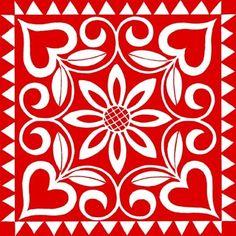 Medium Stencil Patterns, Stencil Designs, Tile Patterns, Vitromosaico Ideas, Decoupage, Red And White Quilts, Tuile, Tile Art, Applique Quilts