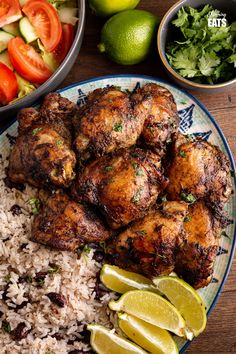 Jamaican Jerk Chicken with Rice and Peas - tender pieces of chicken with a delicious flavoursome blend of spices serve with the perfect side of coconutty white rice with kidney beans. #jerkchicken #chicken #rice #slimmingworld #weightwatchers Jerk Chicken, Chicken Rice, Tandoori Chicken, Slimming World Chicken Recipes, Slimming Eats, Rice And Peas, Dairy Free Recipes, Gluten Free, Weight Watchers Meals