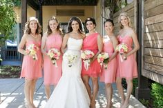 Amsale Bridesmaids Dresses in Coral and Guava Crinkle Silk Chiffon l Weddings By Sasha Photography via Amsale Bridesmaid, Bridesmaid Dresses, Wedding Dresses, Bridesmaids, Coral Wedding Colors, Crinkles, Silk Chiffon, Hue, Photography