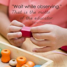 """Montessori word art freebie with an important quote for parents and educators (so helpful in knowing how to follow the child): """"'Wait while observing.' That is the motto of the educator."""" Word art freebie without watermark for printing at http://bitsofpositivity.com/2016/05/25/wait-while-observing-montessori-word-art-freebie/"""