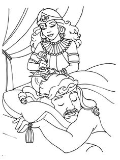 Delilah Cutting Samson's Hair coloring page from Samson category. Select from 21344 printable crafts of cartoons, nature, animals, Bible and many more.