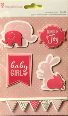 American Crafts Imaginisce Dimensional Baby Girl Scrapbook Stickers are available at Scrapbookfare.