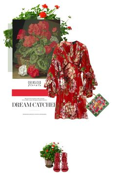 """She loves geraniums...."" by theitalianglam ❤ liked on Polyvore featuring Gucci, Sergio Rossi, Dolce&Gabbana, gucci and oversizedflorals"