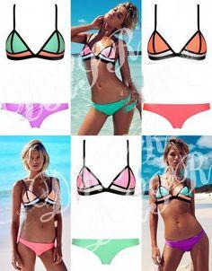 eb0c42a6be 2015 New Swimsuit Women s Fashion Swimwear Beach Swimwear Swimsuit Spell  Color Triangle Bikini Swimsuit Gauze Face Triangl from Chenglongidan
